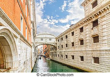 -, suspiros, europ, italia, ponte, dei, sospiri., puente, ...