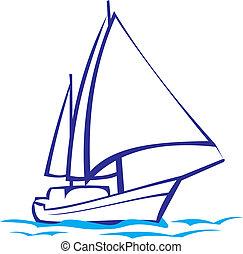 -, sylwetka, jacht, morska podróż