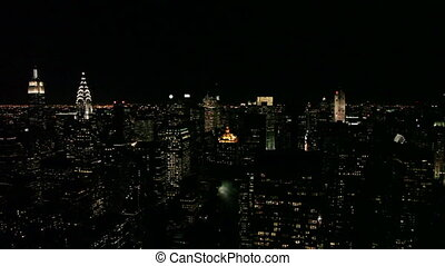 -, sylwetka na tle nieba, miasto, panning, york, nowy