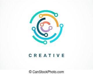 -, symbol, logo, tech, ikona, technologia