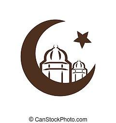 -, symbole, étoile, croissant, islam