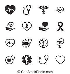 -, symboles, version, gris, healthcare