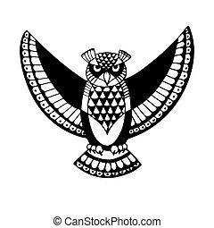 -, symbool, owl., vogel, wijsheid