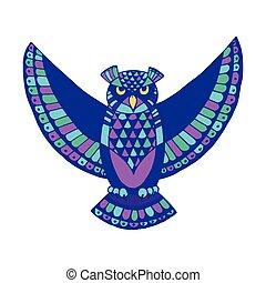 -, symbool, owl., wisdom., vogel