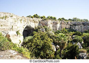 -, syracuse, sicílie, jeskyně, neapolis