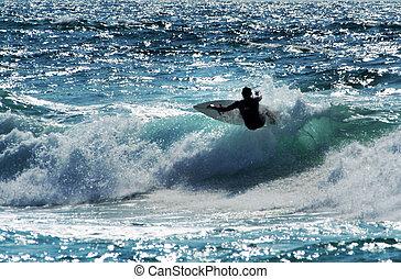 -, szörfözás, sport, tenger, lenget