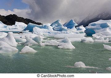 -, szary, góry lodowe, chile, patagonia, largo