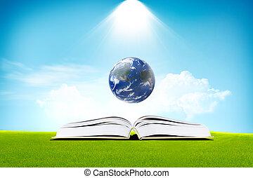 -, szoba, könyv, földdel feltölt, sötét, fény, oktatás, fogalom