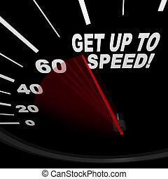 -, szybkościomierz, do góry, szybkość, zdobywać