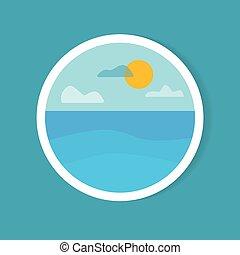 -, táj, vektor, nap, ábra, böllér, tenger