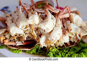 -, tailandés, cocido al vapor, mariscos, cangrejo