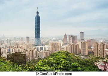 -, taipei, taiwan, městská silueta