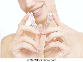 -, tand, whitening, teeth, het glimlachen, blad, meisje
