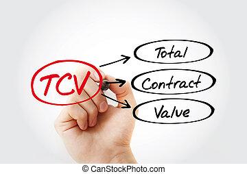 -, tcv, marqueur, acronyme, valeur, contrat, total