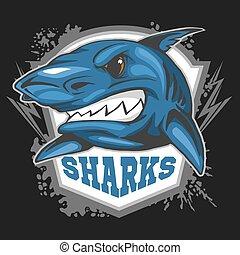 -, team., deporte, emblema, mascota, tiburones