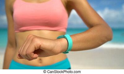 -, technologie, crise, plage, femme, activité, wearable, ...