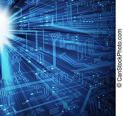 -, technologie, xl, électronique