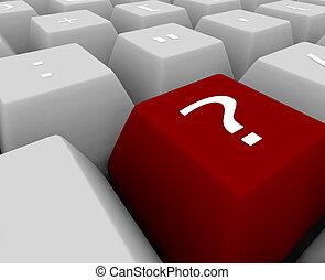 -, teclado, pregunta, llave, marca