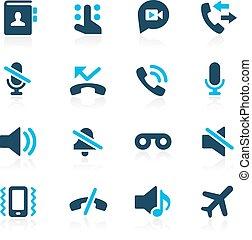 --, telefono, azzurro, chiamate, icone