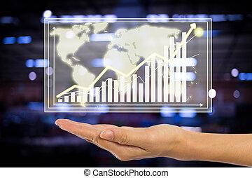 -, tenant main, graphique, concept affaires
