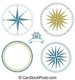 -, tengeri, vektor, állhatatos, jelkép, rózsa, illustration.eps, iránytű
