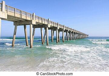 -, tengerpart, móló, színezett