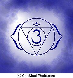 -, tercero, chakra, ajna., ojo, sexto