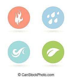 -, terra, quatro elementos, natural, ícones, ar., água, fogo
