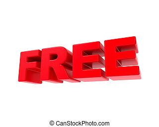 -, text., libero, rosso, 3d