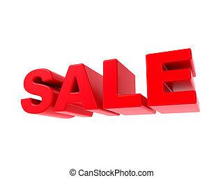 -, text., vendita, rosso, 3d