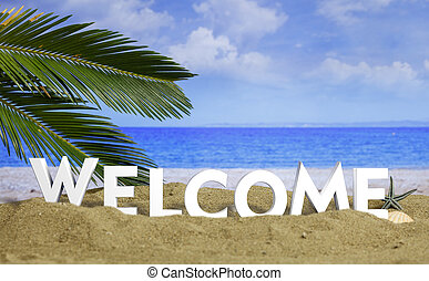 -, texte, sablonneux, accueil, vacances, illustration, été, ...
