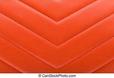 -, textura, couro, fundo, vermelho