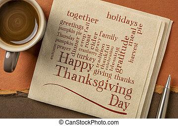 -, thanksgiving, jour, heureux, serviette, mot, nuage