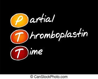 -, thromboplastin, temps, partiel, acronyme, ptt