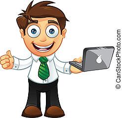 -thumbs, ordinateur portable, haut, homme affaires