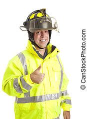 -, thumbsup, barátságos, tűzoltó