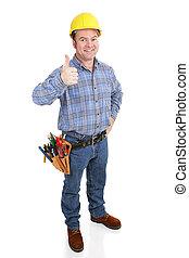 -, thumbsup, de arbeider van de bouw, echte