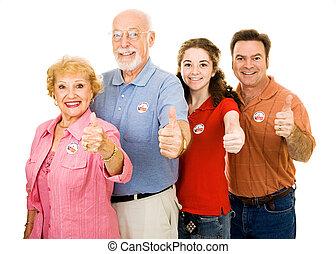 -, thumbsup, familia , votantes