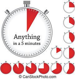 -, tijdopnemer, een, vector, elke, veranderen, gemakkelijk, tijd, minuut