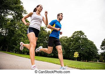 -, tillsammans, joggning, sport, par, ung