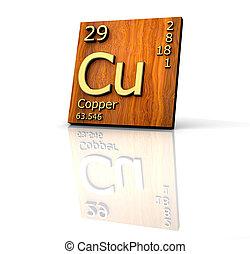 -, tisch, brett, elemente, form, holz, kupfer, periodisch