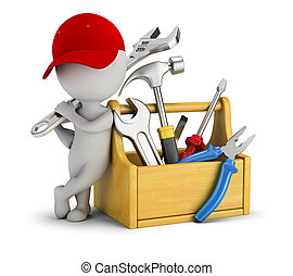 -, toolbox, národ, malý, opravář, 3