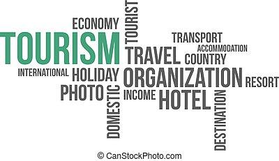 -, tourisme, nuage, mot