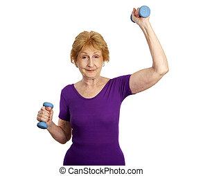 -, tréning, idősebb ember, állóképesség, móka