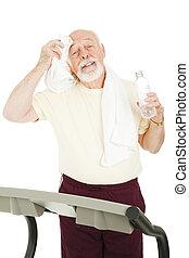 -, tréning, lefelé, friss, idősebb ember