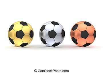 -, três, ouro, footballs, prata, bronze, fila