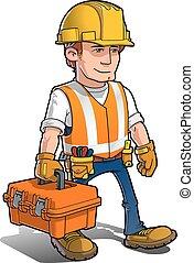 -, trabajador construcción, juego herramientas, carying