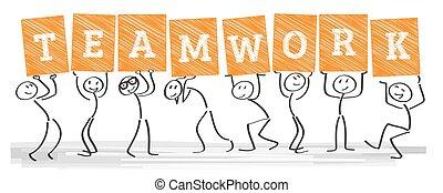 -, trabajo en equipo, togetherness