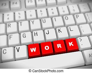 -, trabajo, palabra, 3d, teclado