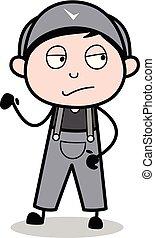 -, trabalhador, ilustração, atitude, vetorial, retro, repairman, caricatura